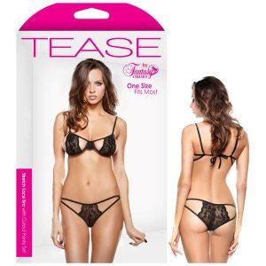 Tease Belle Stretch Lace Bra with Cutout Panty Set
