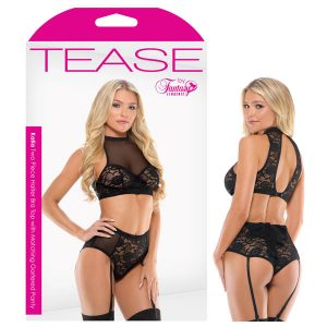 Tease Katia Two Piece Halter Bra Top with Matching Gartered Panty