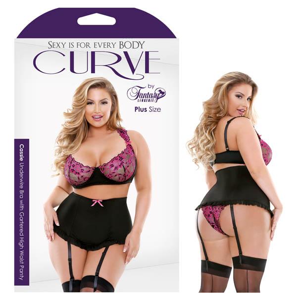 Curve Cassie Underwire Bra with Gartered High Waist Panty