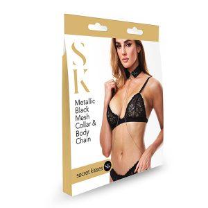 Secret Kisses Metallic Black Mesh Collar & Body Chain